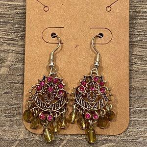 🦋 Vintage Avon Pink Silver & Yellow Earrings